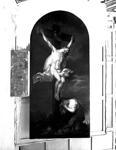 Peinture sur toile : Le Christ en Croix pleuré par Marie-Madeleine