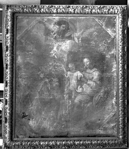 Peinture sur toile : Saint Joseph adorant l'Enfant Jésus présenté par sa mère