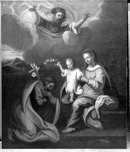 Peinture sur toile : Saint-Joseph adorant l'Enfant Jésus présenté par sa mère
