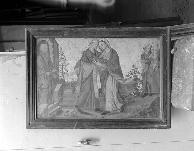 Panneau peint au revers d'un volet de retable : La Visitation