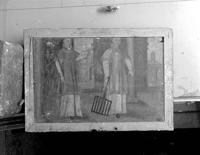 Panneau peint d'un volet de retable : Saint Etienne et saint Laurent