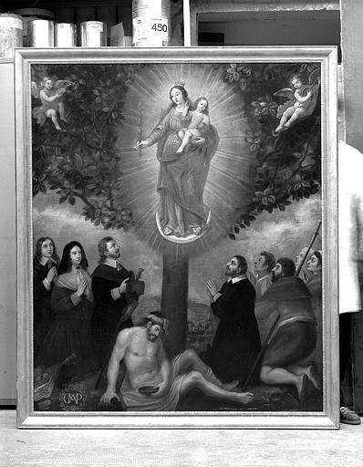 Peinture sur toile : Apparition de la Vierge à l'Enfant
