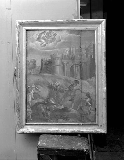 Panneau peint : Lapidation de saint Etienne