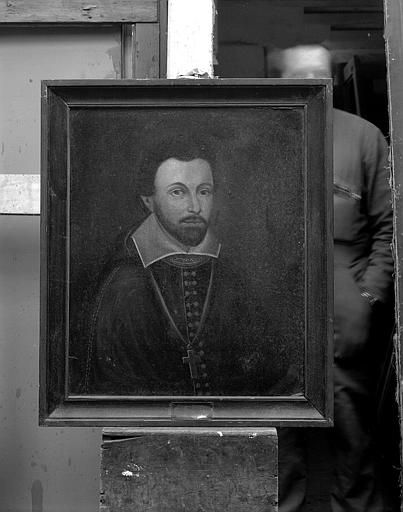 Ensemble de peintures sur toile représentant les évêques de Tréguier : Portrai de Guy Champion de Cice de la Chaise (1620-1635)