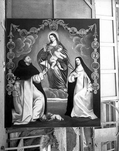 Peinture sur toile (retable du transept sud) : Le Rosaire