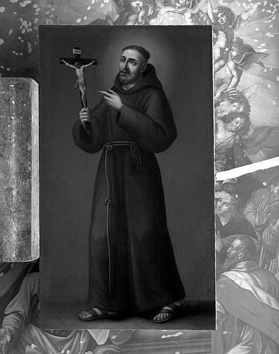 Peinture sur toile : Saint franciscain montrant un crucifix