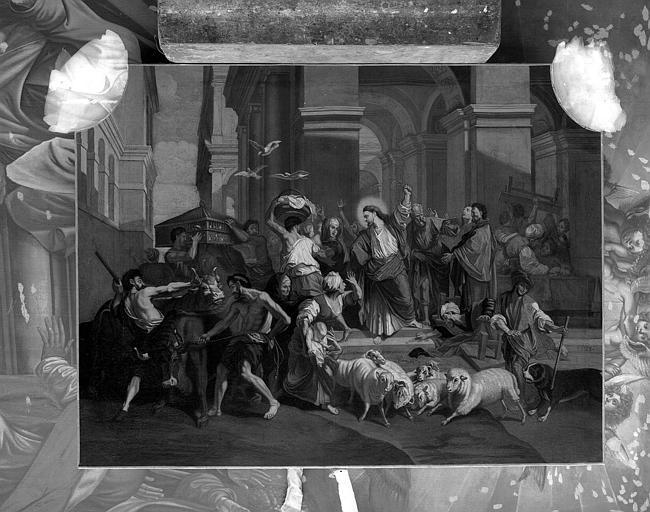 Peinture sur toile : Jésus chassant les marchands du Temple