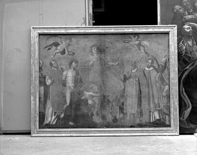 Peinture sur toile : L'Assomption entre six saints