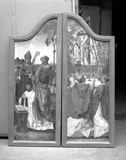 Deux panneaux peints (volets de retable) : Donateurs avec saint Pierre et saint Léger - Messe de saint Grégoire
