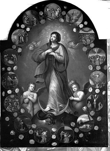 Peinture sur toile du retable latéral nord : Le Rosaire