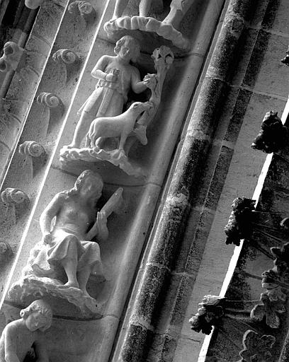 Portail du transept nord, 8e et 9e sujets de la voussure (à l'est de la rose) : Eve filant la laine - Caïn avec un mouton