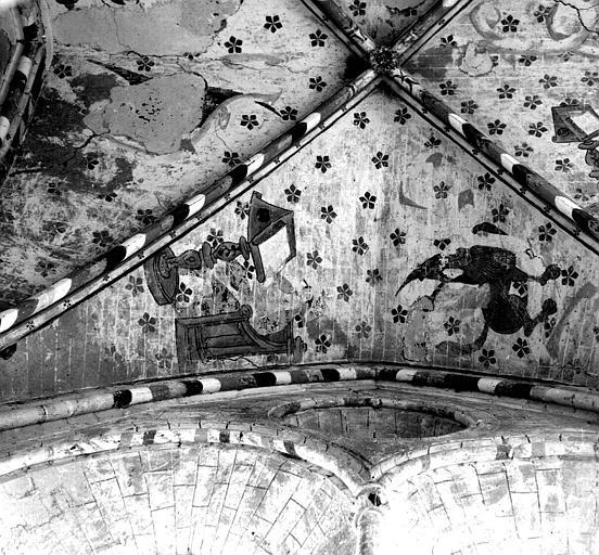 Peinture murale de la voûte de la chapelle nord : Le lion et saint Marc