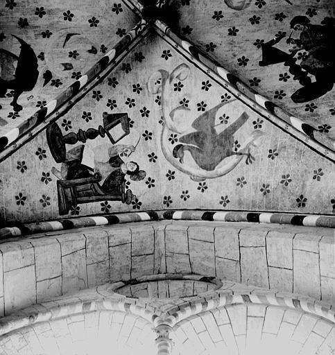 Peinture murale de la voûte de la chapelle nord : L'aigle et saint Jean