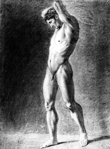 Dessin à la pierre noire, estompe et rehauts de blanc : Nu de trois-quarts vers la gauche, les mains derrière la tête