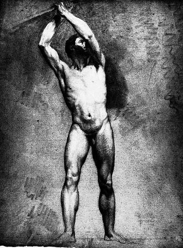 Dessin à la pierre noire, estompe et rehauts de blanc : Nu vu de face, les deux mains appuyées sur une corde