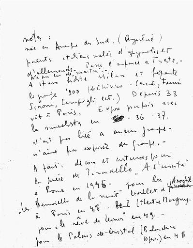 Première partie des notes pour la biographie de Léonor Fini