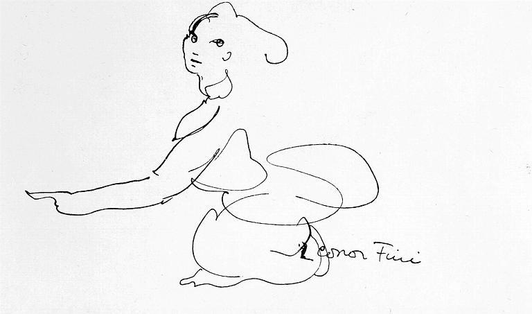 Dessin : Portrait de Léonor Fini en sphinge