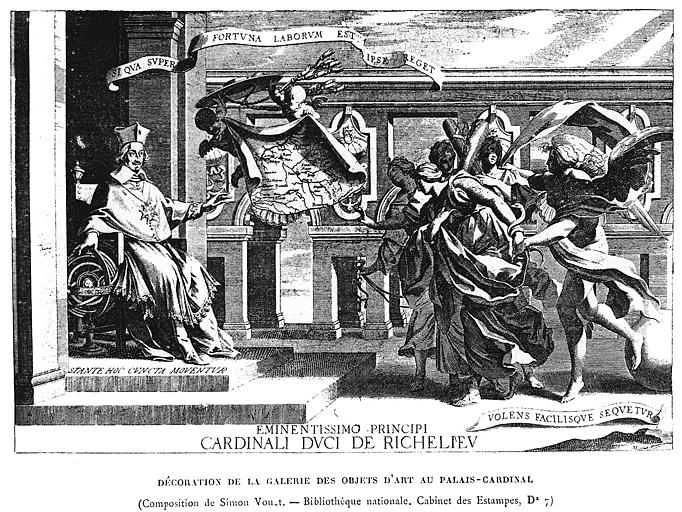 Gravure : Portrait du cardinal duc de Richelieu dans la galerie des objets d'art au Palais-Cardinal