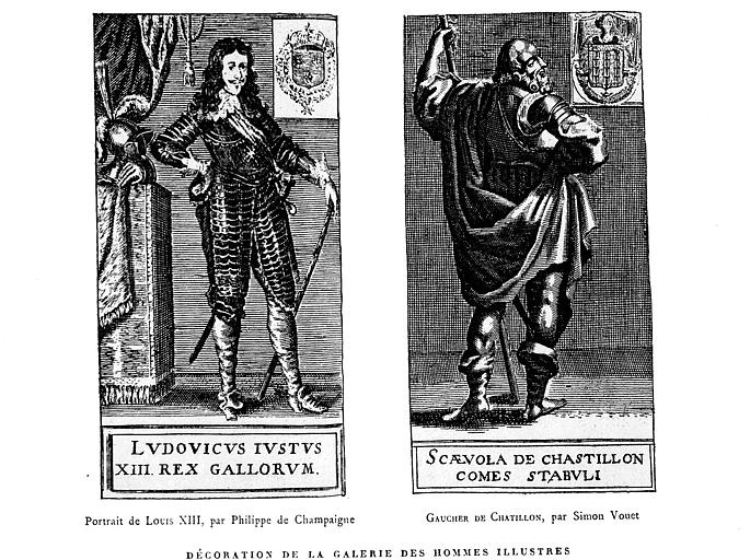 Gravure : Portraits de Louis XIII et Gaucher de Chatillon dans la galerie des Hommes Illustres