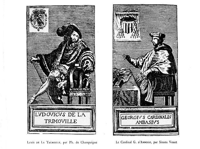 Gravure : Portraits de Louis de la Trémoille et du Cardinal G. d'Ambroise dans la galerie des Hommes Illustres