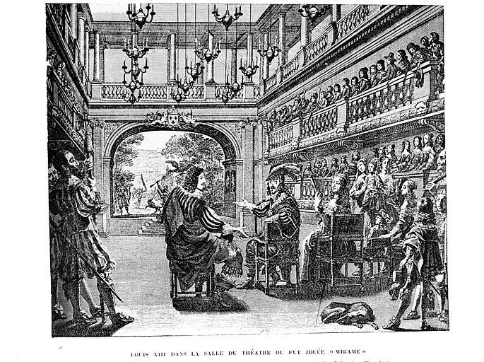 Gravure : Louis XIII dans la salle du théâtre où fut jouée 'Mirame'