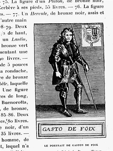 Gravure : Portrait de Gaston de Foix dans la galerie des Hommes Illustres