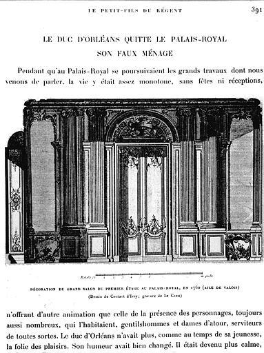 Gravure : Décoration du grand salon du 1e étage en 1760 (aile de Valois)