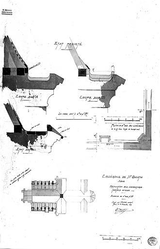 Réfection des couvertures : Plan et détails (état actuel et projet)