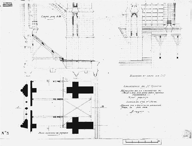 Réfection de la couverture du bas-côté sud dans deux travées effondrées : Plan, coupe, élévation