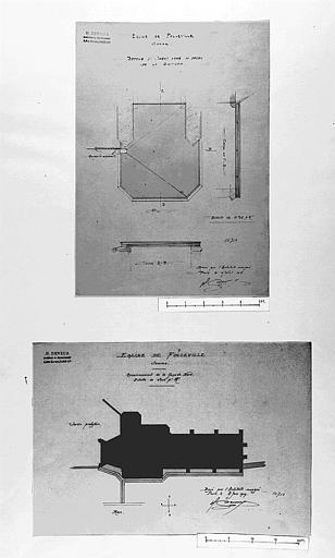 Assainissement de la façade nord de la terrasse en ciment armé au-dessus de la sacristie : Plans
