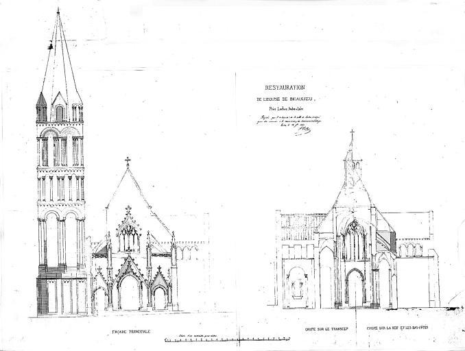 Restauration : Elévation de la façade principale etcoupe sur le transept, la nef et les bas-côtés