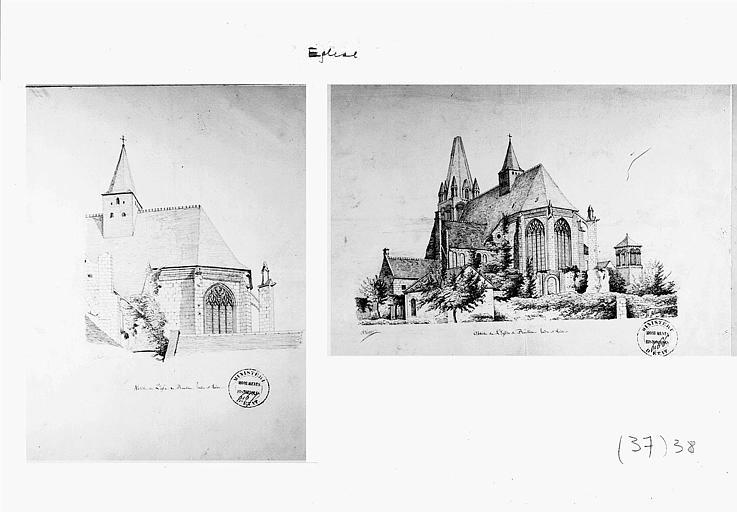 Deux dessins à la plume : Vues perspectives de l'abside