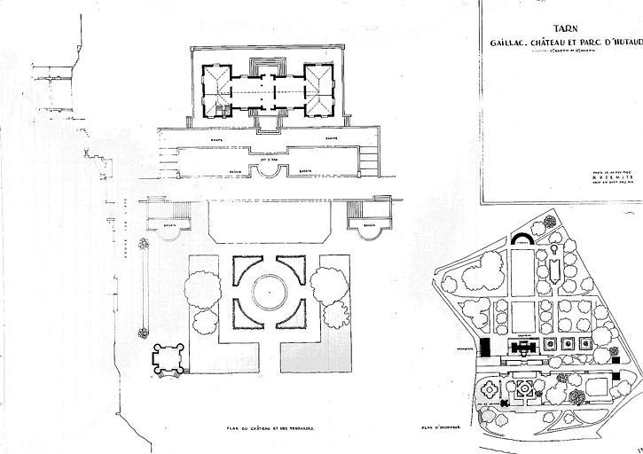 Plan du château et des terrasses et plan d'ensemble