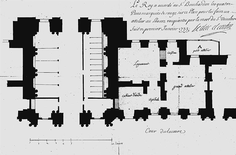 Atelier accordé à Bouchardon : Plan des quatre pièces