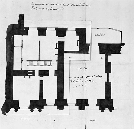 Logement et de l'atelier de Bouchardon : Plan du 1e étage