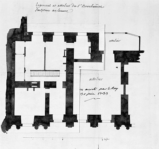 Plan du rez-de-chaussée du logement et de l'atelier de Bouchardon