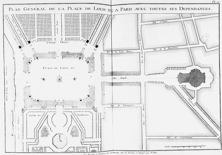 Gravure : Plan général de la place Louis XV et de ses dépendances (actuelle place de la Concorde)