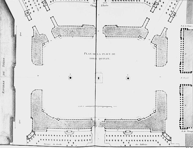 Gravure : Plan général de la place Louis XV (actuelle place de la Concorde)