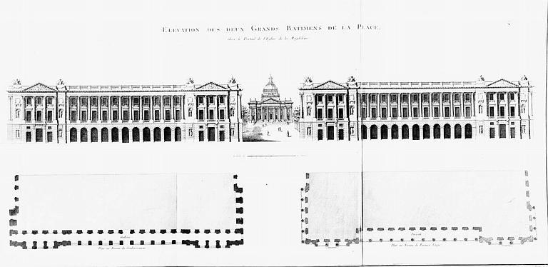 Gravure : Elévation  et plan des deux grands bâtiments de la place