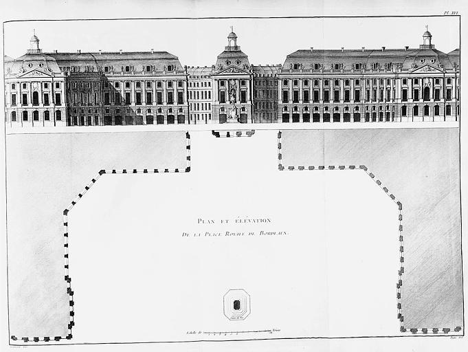 Gravure : Plan de la place Royale et élévation des bâtiments