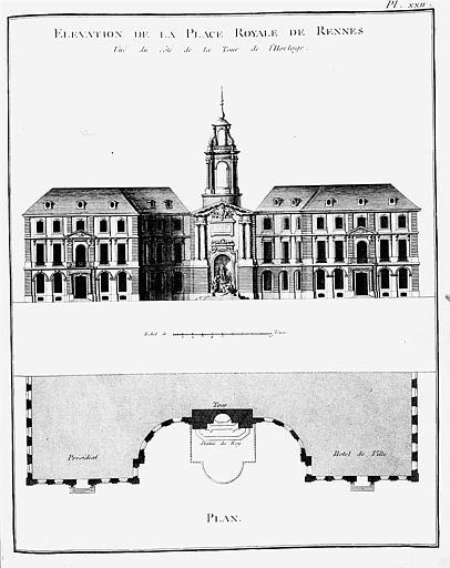 Gravure : Plan de la place Royale et élévation du bâtiment du côté de la Tour de l'Horloge