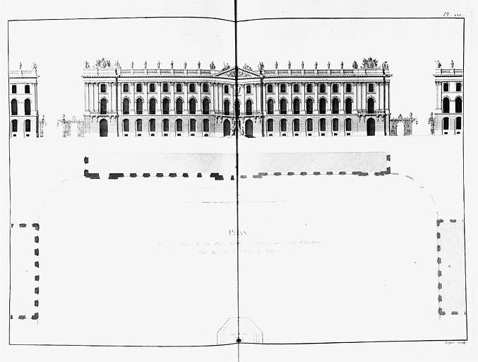 Gravure : Plan de la place Royale et élévation du côté de l'Hôtel de Ville
