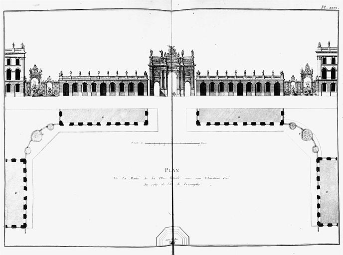 Gravure : Plan de la place Royale et élévation du côté de l'Arc de triomphe