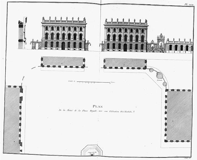 Gravure : Plan de la place Royale et élévation du côté occidental