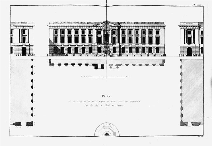 Gravure : Plan de la place Royale et élévation du côté des fermes