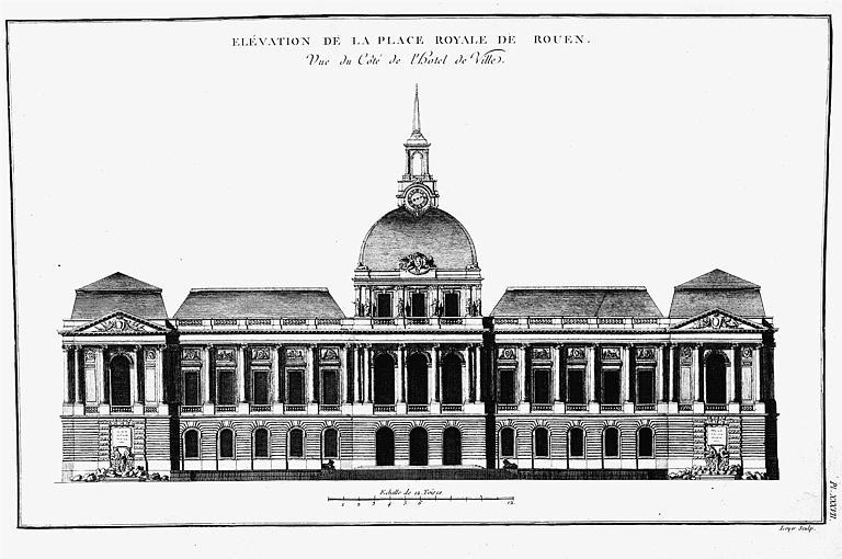 Gravure : Elévation des bâtiments de la place Royale du côté de l'Hôtel de Ville