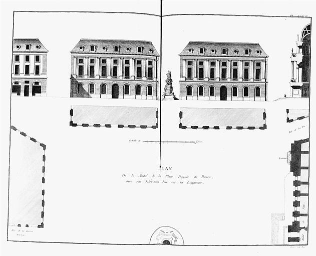 Elévation des bâtiments de la place Royale, plan sur la longueur et coupe
