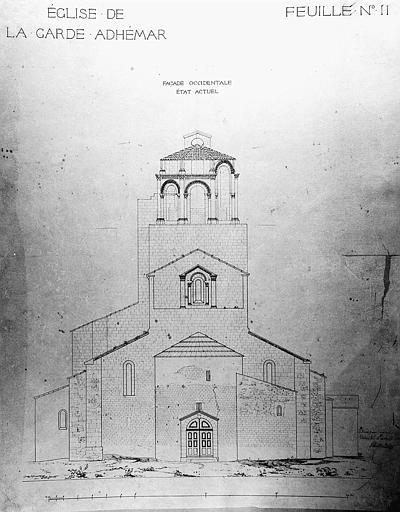 Elévation de la façade occidentale (état actuel)