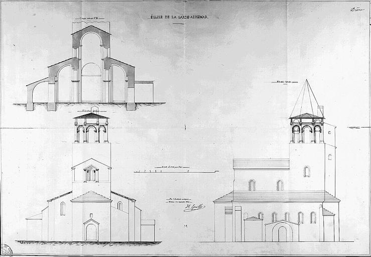 Elévations des façades latérale et occidentale, et coupe transversale