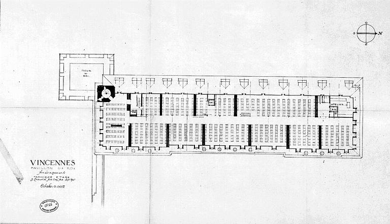 Aménagement du pavillon du roi : Plan du 3e étage